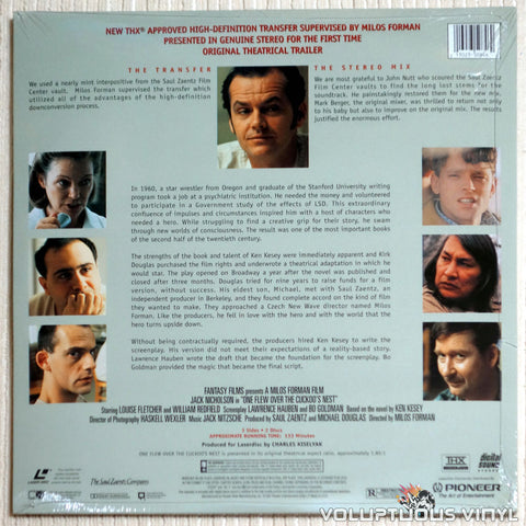 One Flew over the Cuckoo's Nest - LaserDisc - Back Cover