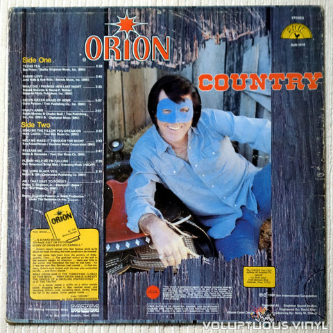Orion ‎– Country - Vinyl Record - Back Cover