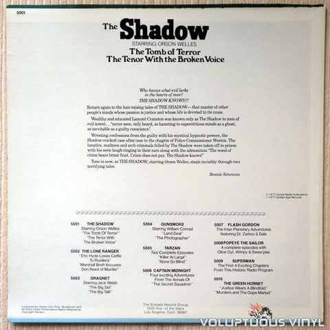 Orson Welles ‎– The Shadow - Vinyl Record - Back Cover