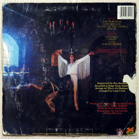 Ozzy Osbourne ‎– Diary Of A Madman vinyl record back cover