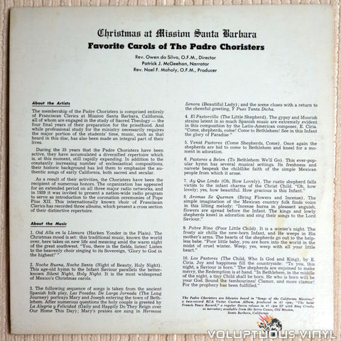 The Padre Choristers ‎– Christmas At Mission Santa Barbara - Vinyl Record - Back Cover