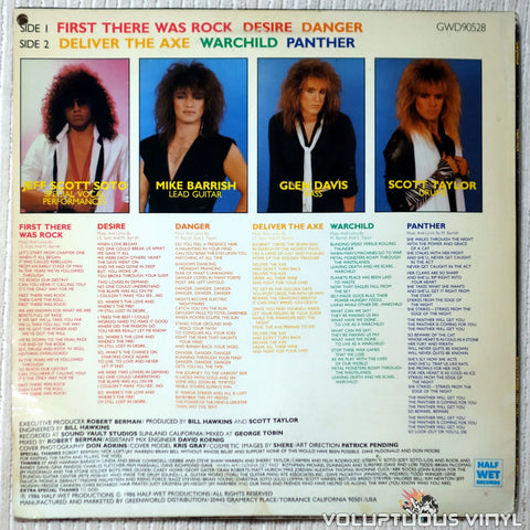 Panther ‎– Panther - Vinyl Record - Back Cover