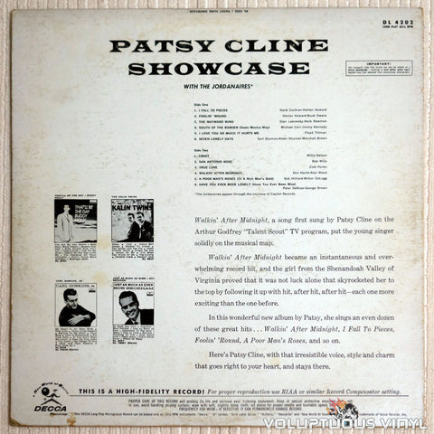 Patsy Cline ‎– Showcase - Vinyl Record - Back Cover