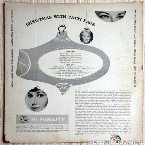 Patti Page ‎– Christmas With Patti Page - Vinyl Record - Back Cover