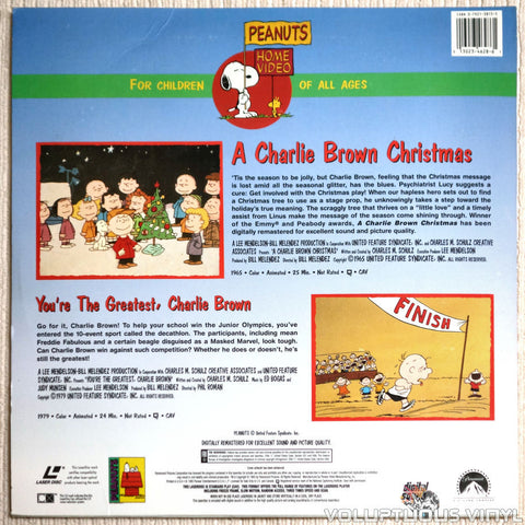 Peanuts: Charlie Brown Christmas / You're the Greatest - LaserDisc - Back Cover