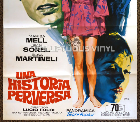 One on Top of the Other 1969 Spanish 1-Sheet Movie Poster for the Italian Giallo with Marisa Mell - Bottom Half