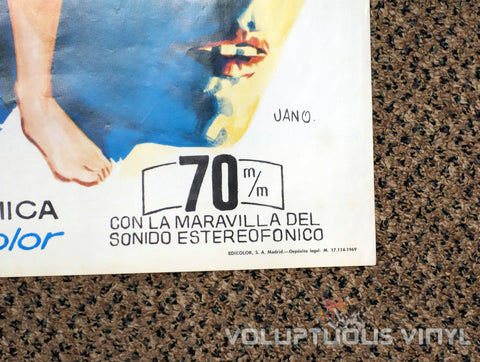 One on Top of the Other 1969 Spanish 1-Sheet Movie Poster for the Italian Giallo with Marisa Mell - Printing Info