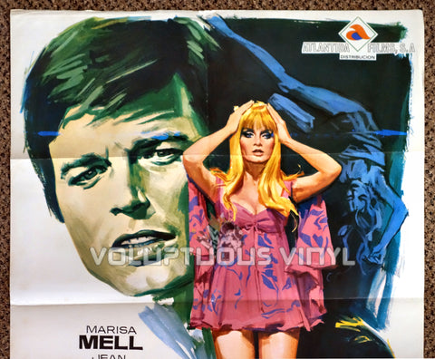 One on Top of the Other 1969 Spanish 1-Sheet Movie Poster for the Italian Giallo with Marisa Mell - Top Half