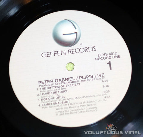 Peter Gabriel ‎Plays Live Vinyl Record Geffen Label