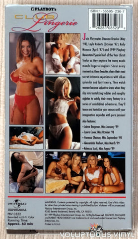 Playboy: Club Lingerie - VHS Tape - Back Cover