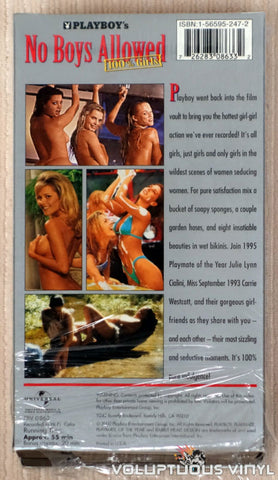 Playboy's No Boys Allowed, 100% Girls - VHS Tape - Back Cover