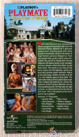 Playboy's Playmate Pajama Party - VHS Tape - Back Cover