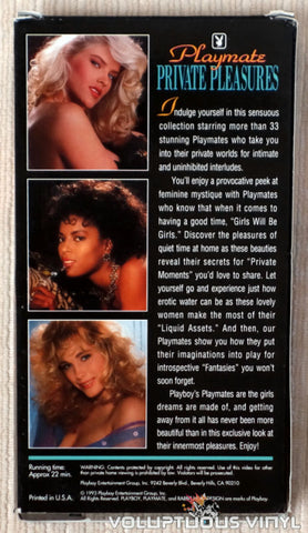 Playboy: Playmate Private Pleasures - VHS Tape - Back Cover