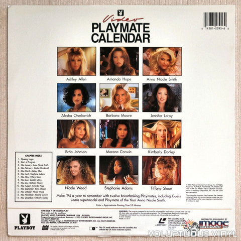 Playboy Video Playmate Calendar 1994 Anna Nicole Smith LaserDisc Back Cover