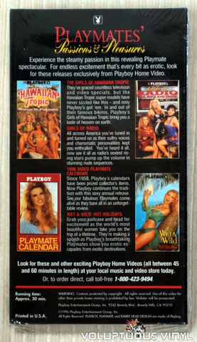 Playboy: Playmates Passions & Pleasures - VHS Tape - Back Cover