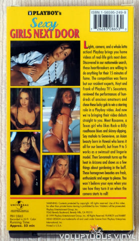 Playboy's Sexy Girls Next Door - VHS Tape - Back Cover