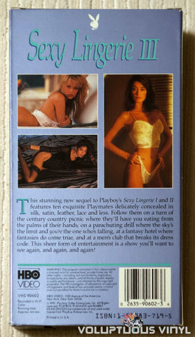 Playboy: Sexy Lingerie III - VHS - Back Cover