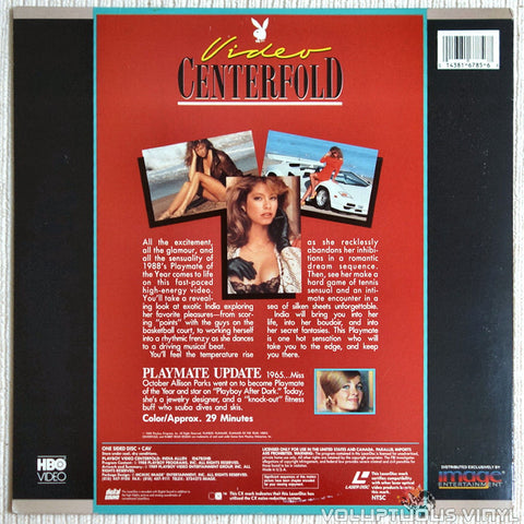 Playboy Video Centerfold: India Allen: Playmate of The Year 1988 - LaserDisc - Back Cover