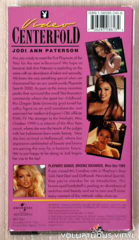 Playboy Video Centerfold: Playmate of the Year Jodi Ann Paterson - VHS Tape - Back Cover
