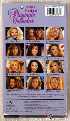 Playboy Video Playmate Calendar 2001 - VHS Tape - Back Cover