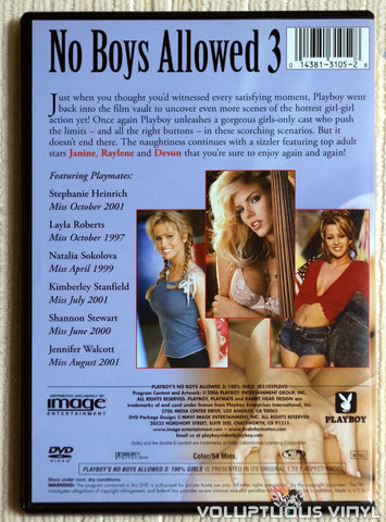 Playboy's No Boys Allowed 3, 100% Girls - DVD - Back Cover