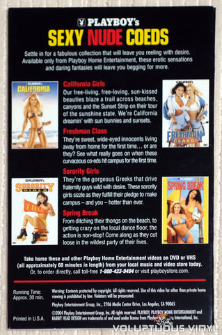 Playboy's Sexy Nude Coeds - DVD - Back Cover