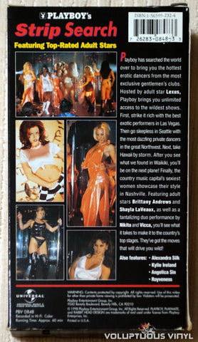 Playboy's Strip Search - VHS Tape - Back Cover