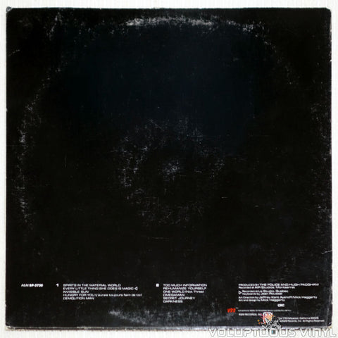 The Police ‎– Ghost In The Machine - Vinyl Record - Back Cover