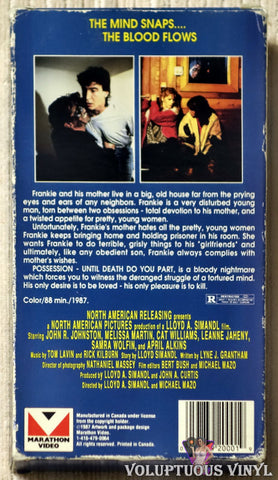 Possession Until Death Do You Part VHS tape back cover