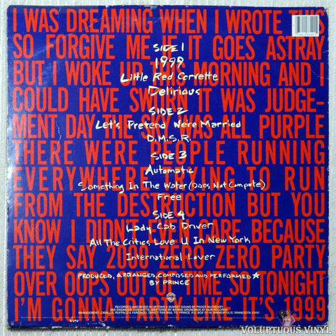Prince - 1999 vinyl record back cover