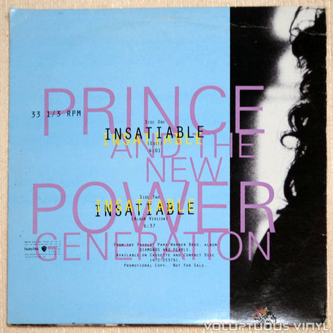 Prince And The New Power Generation ‎– Insatiable - Vinyl Record - Back Cover