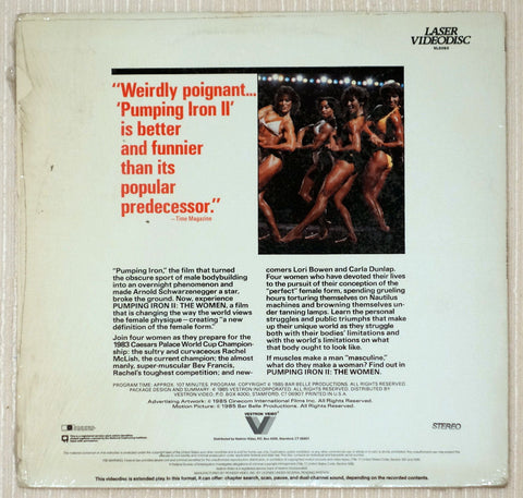 Pumping Iron 2: The Women Laserdisc Back Cover