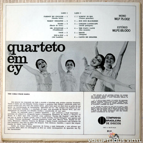 Quarteto Em Cy ‎– The Girls From Bahia vinyl record back cover