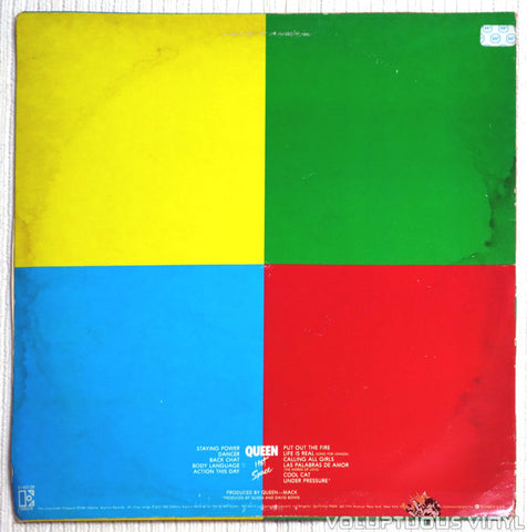 Queen ‎– Hot Space - Vinyl Record - Back Cover