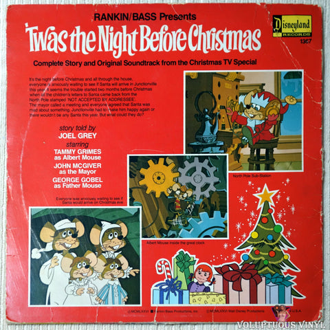 Rankin / Bass ‎– 'Twas The Night Before Christmas - Vinyl Record - Back Cover