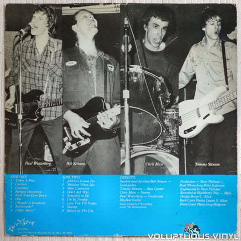 The Replacements ‎– Sorry Ma, Forgot To Take Out The Trash - Vinyl Record - Back Cover