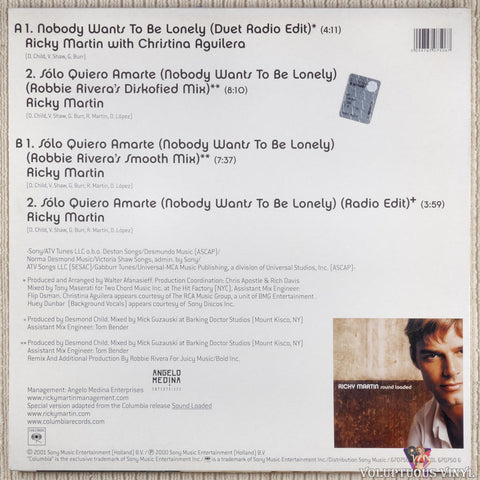 Ricky Martin With Christina Aguilera ‎– Nobody Wants To Be Lonely vinyl record back cover