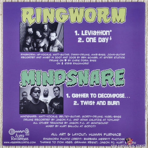 Ringworm / Mindsnare ‎– Your Soul Belongs To Us... vinyl record back cover