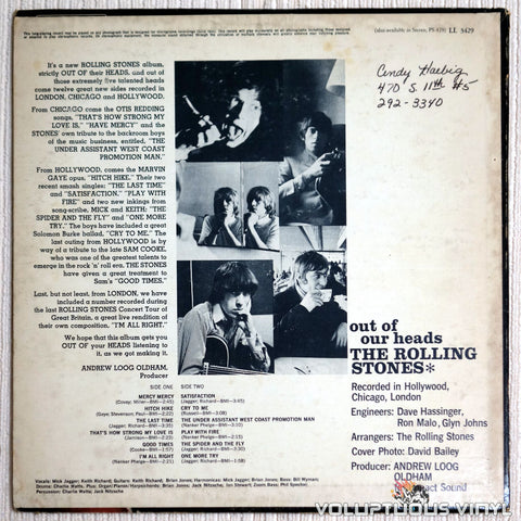The Rolling Stones ‎– Out Of Our Heads - Vinyl Record - Back Cover