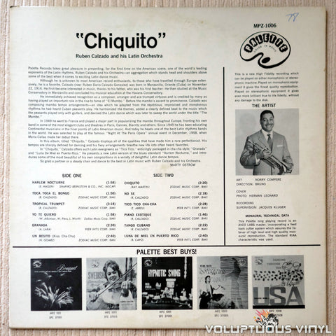 Ruben Calzado And His Latin Orchestra ‎– Chiquito - Vinyl Record - Back Cover