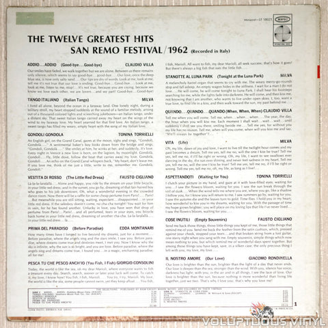 San Remo Festival 1962: The Twelve Greatest Hits - Vinyl Record - Back Cover