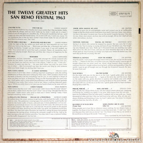 San Remo Festival 1963: The Twelve Greatest Hits - Vinyl Record - Back Cover