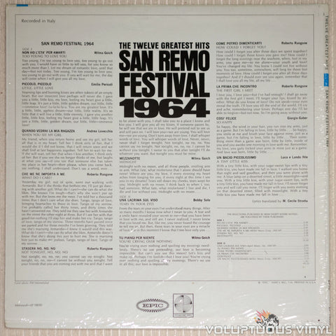 San Remo Festival 1964: The Twelve Greatest Hits - Vinyl Record - Back Cover
