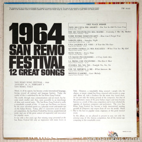 San Remo Festival 1964: 12 Great Songs - Vinyl Record - Back Cover