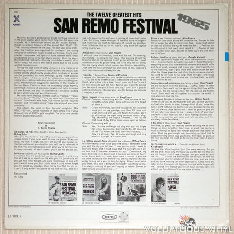 San Remo Festival 1965: The Twelve Greatest Hits - Vinyl Record - Back Cover