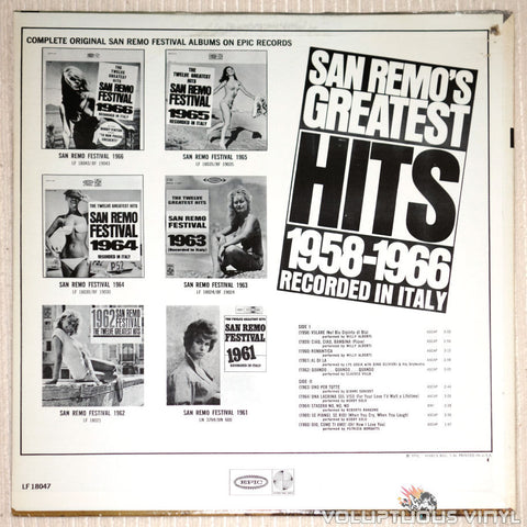 San Remo's Greatest Hits 1958-1966 - Vinyl Record - Back Cover