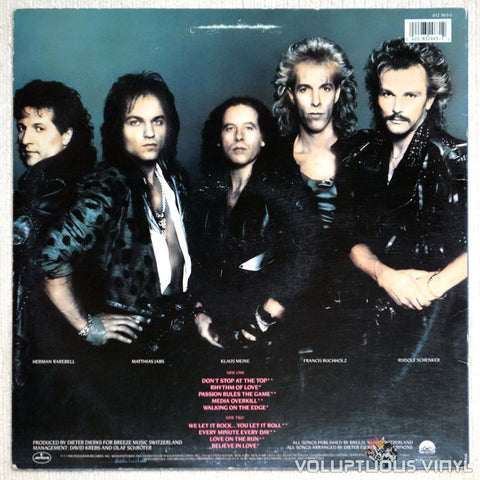 Scorpions ‎Savage Amusement Vinyl Record Back Cover