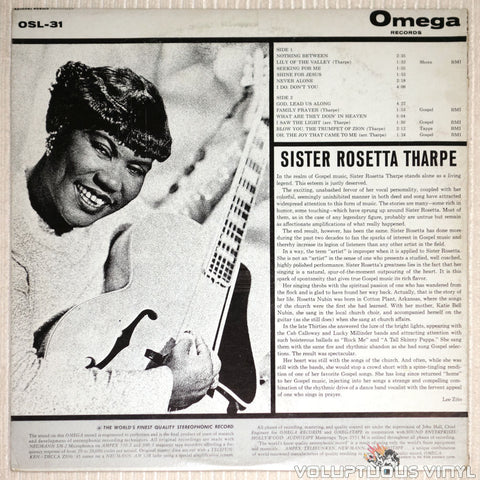 Sister Rosetta Tharpe ‎– Sister Rosetta Tharpe - Vinyl Record - Back Cover
