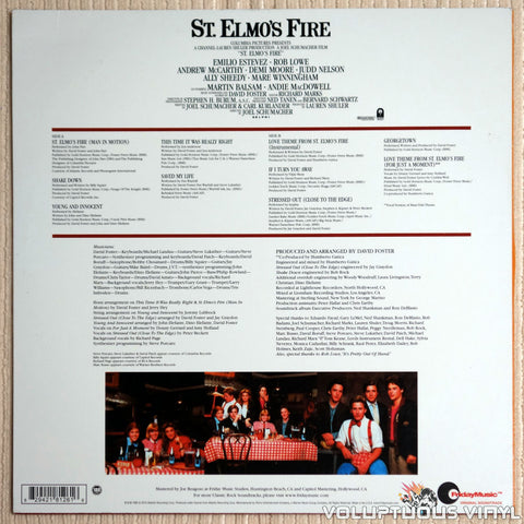 Various ‎– St. Elmo's Fire Soundtrack - Vinyl Record - Back Cover