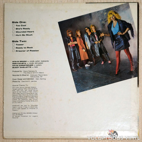 The Steve Grimm Band ‎Prisoner Of Passion Vinyl Record Back Cover